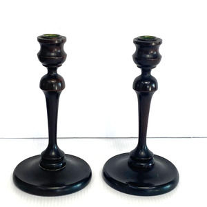Pair Antique Wood Candlesticks Hand Turned 19th Ce